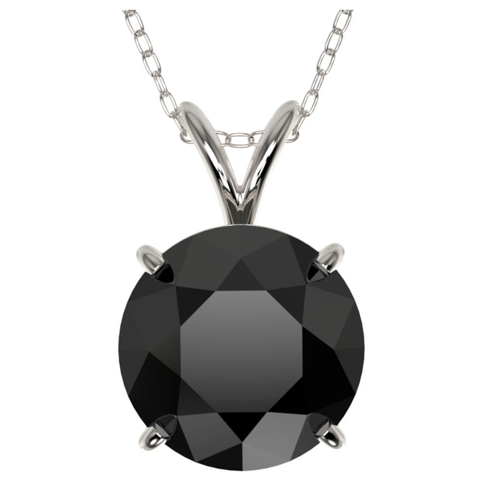 2.58 ctw Fancy Black Diamond Solitaire Necklace 10K White Gold - REF-73R5K - SKU:36821
