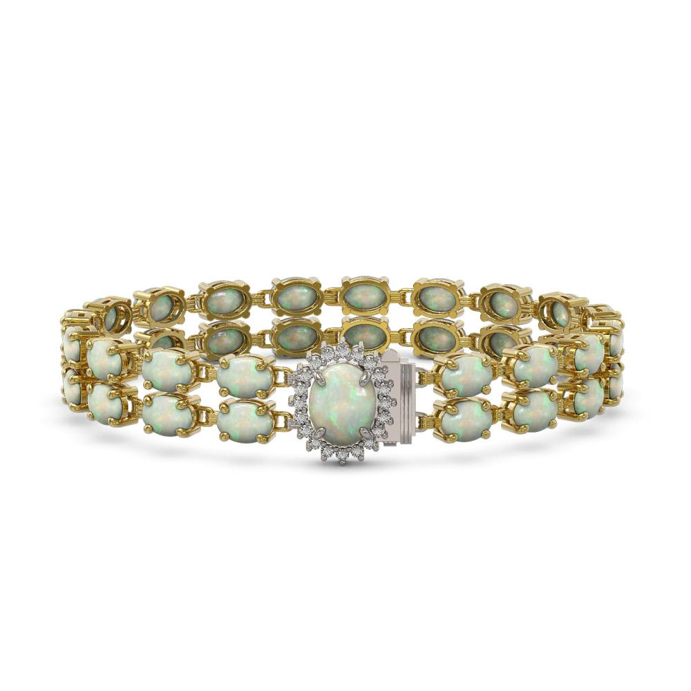 17.42 ctw Opal & Diamond Bracelet 14K Yellow Gold - REF-194V2Y - SKU:45496