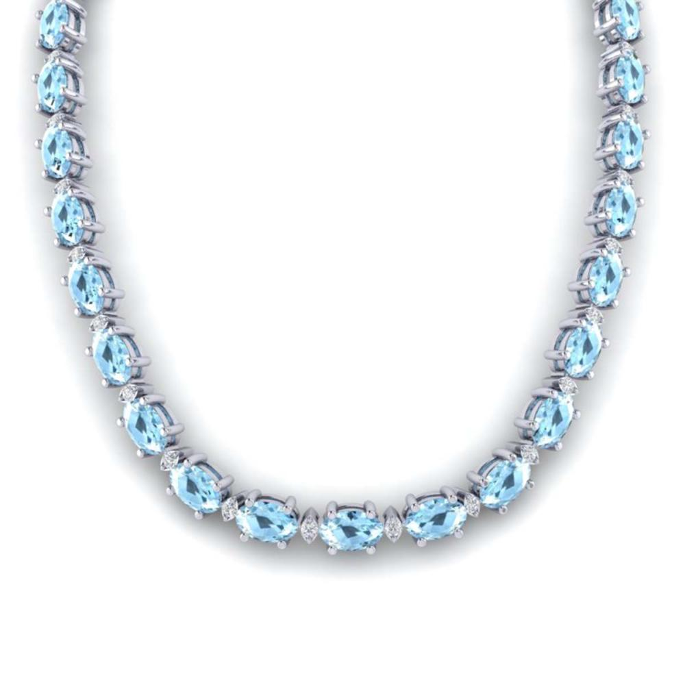 49.85 ctw Aquamarine & VS/SI Diamond Eternity Necklace 10K White Gold - REF-494A2V - SKU:29500