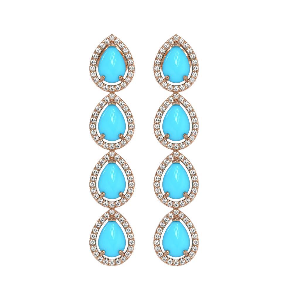 6.20 ctw Turquoise & Diamond Halo Earrings 10K Rose Gold - REF-134K9W - SKU:46052