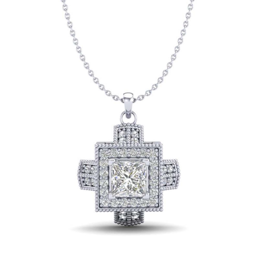 0.84 ctw Princess VS/SI Diamond Necklace 18K White Gold - REF-149A3V - SKU:37190
