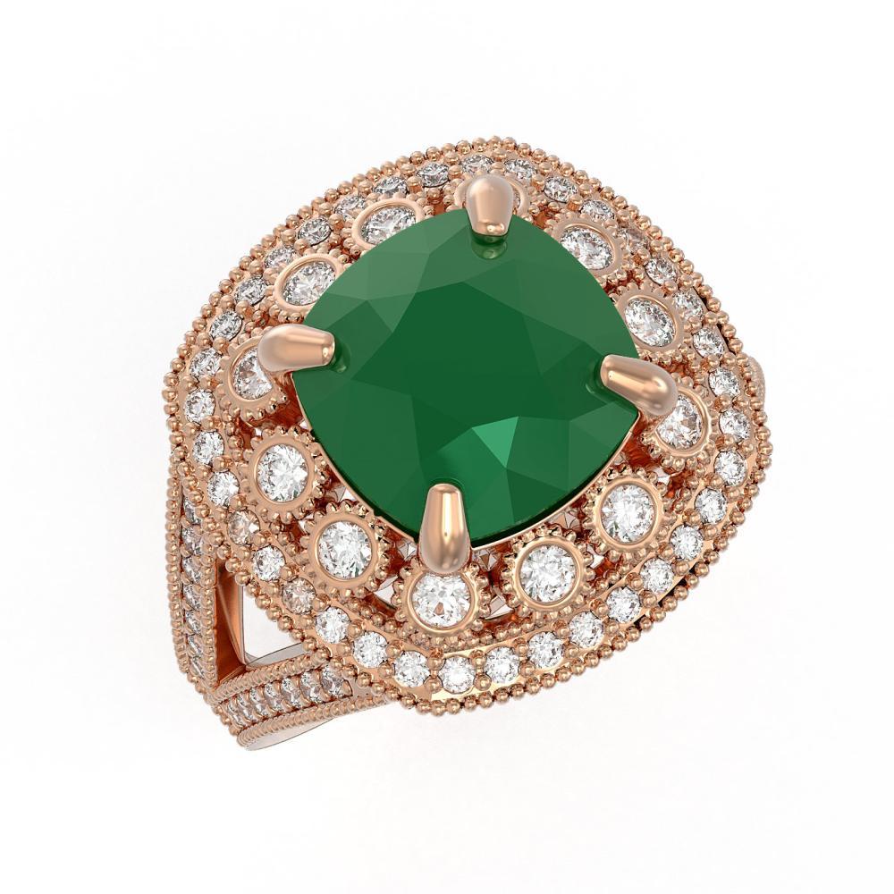 6.47 ctw Emerald & Diamond Ring 14K Rose Gold - REF-152F2N - SKU:43929
