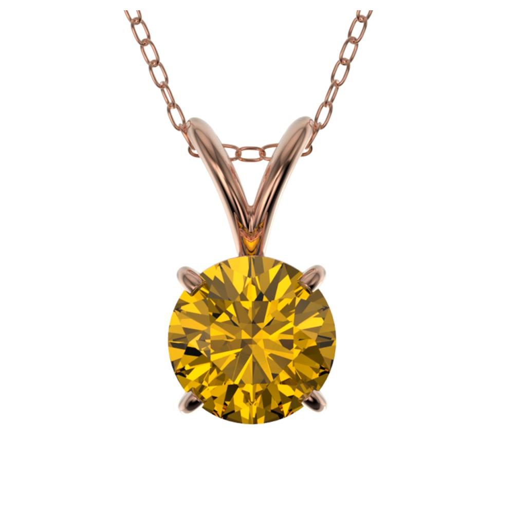 0.73 ctw Intense Yellow Diamond Necklace 10K Rose Gold - REF-100K5W - SKU:36747