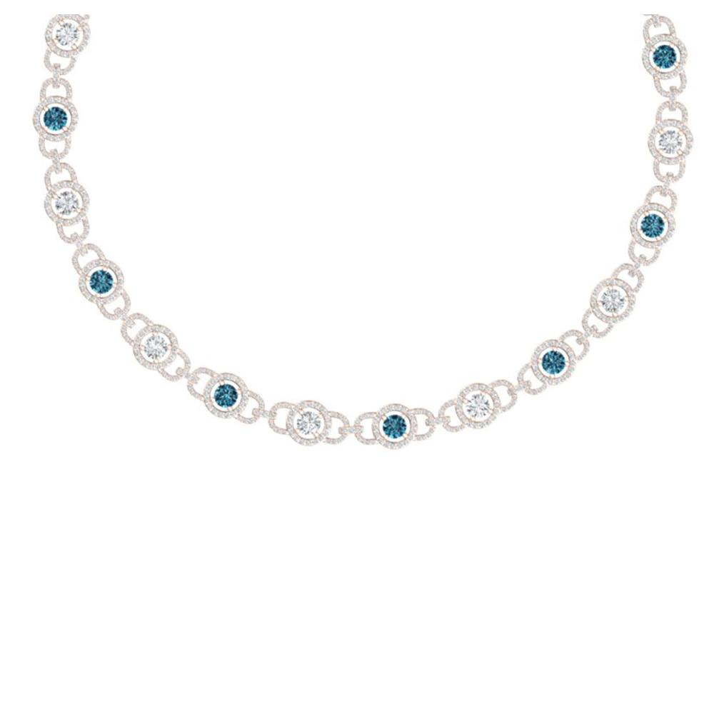 25 ctw SI/I Intense Blue And Diamond Necklace 18K Rose Gold - REF-2205M2F - SKU:40098