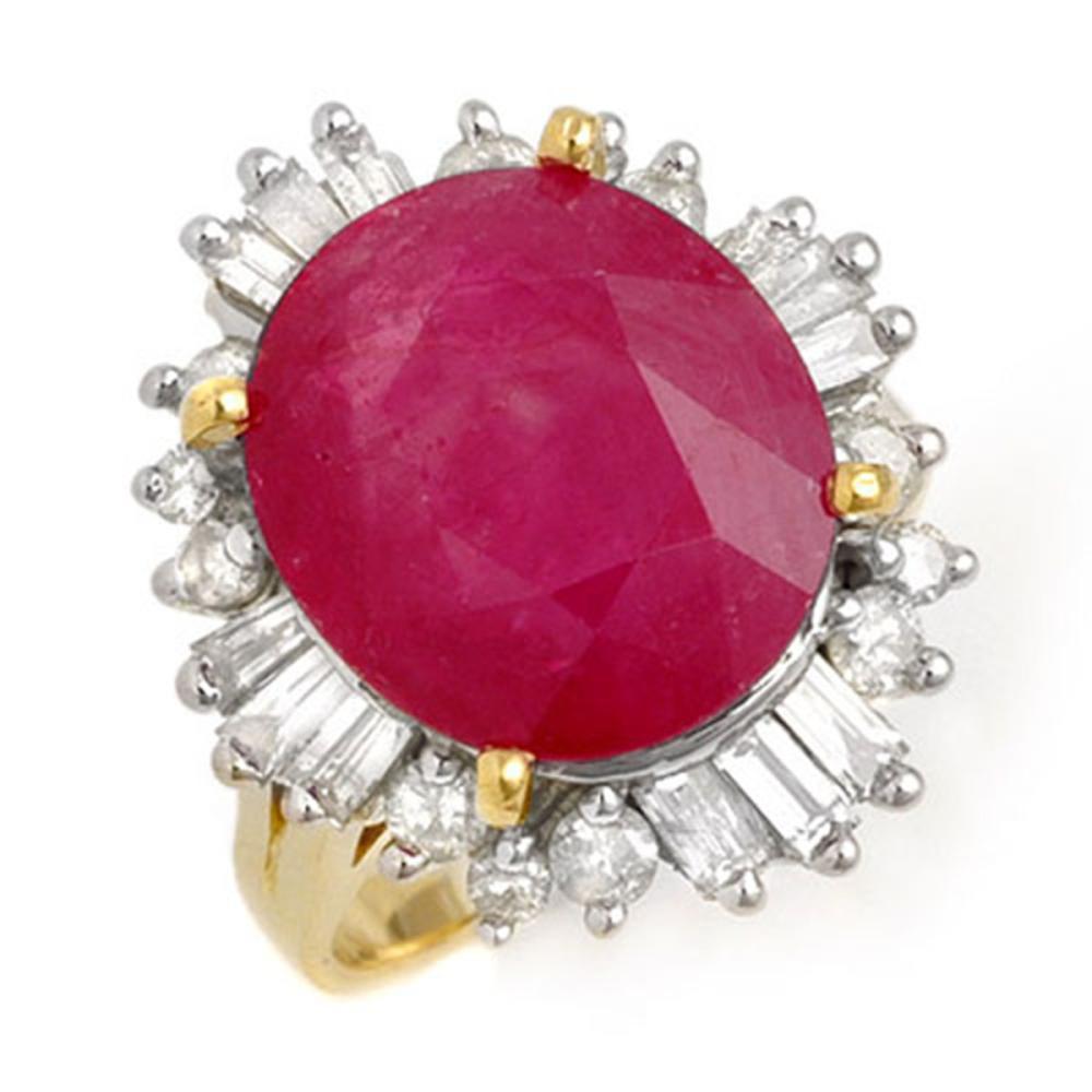 9.68 ctw Ruby & Diamond Ring 14K Yellow Gold - REF-123K5W - SKU:13269