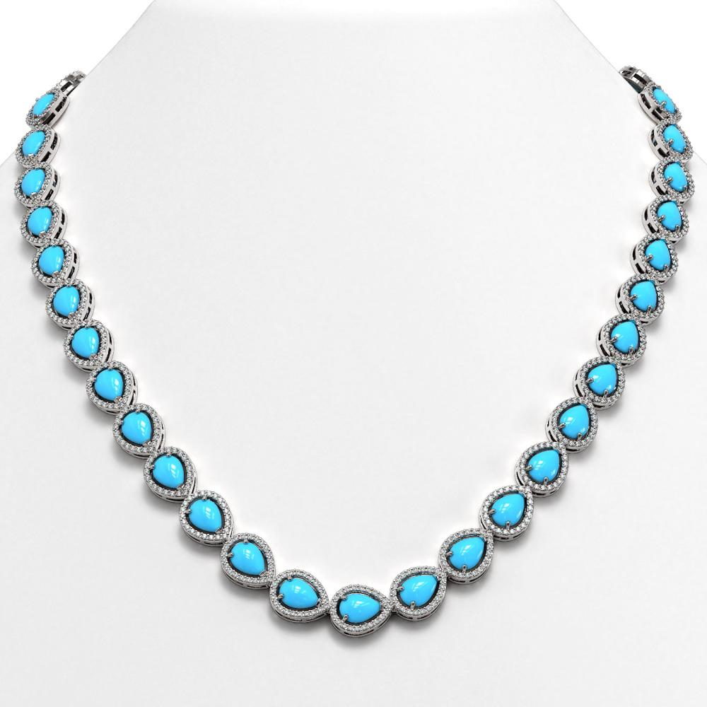 29.73 ctw Turquoise & Diamond Halo Necklace 10K White Gold - REF-588N5A - SKU:46040