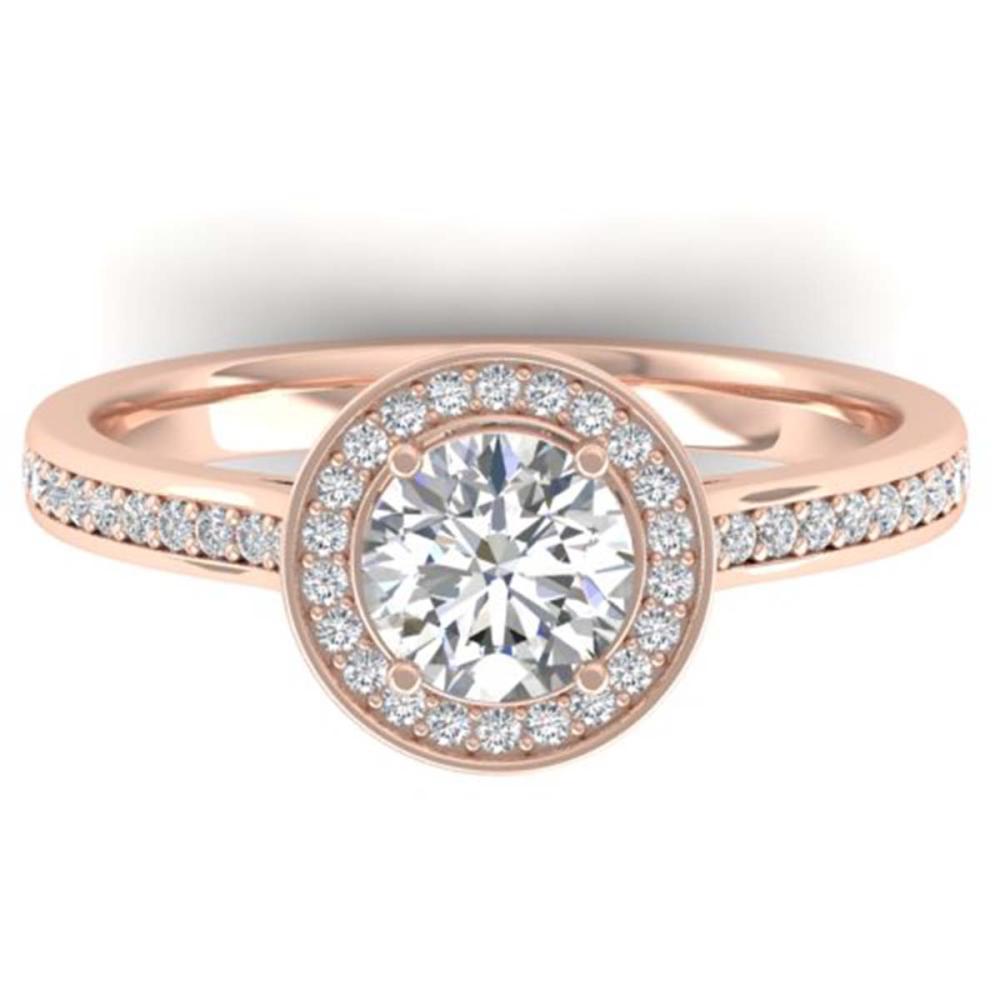 1.10 ctw VS/SI Diamond Halo Ring 14K Rose Gold - REF-188K5W - SKU:30352