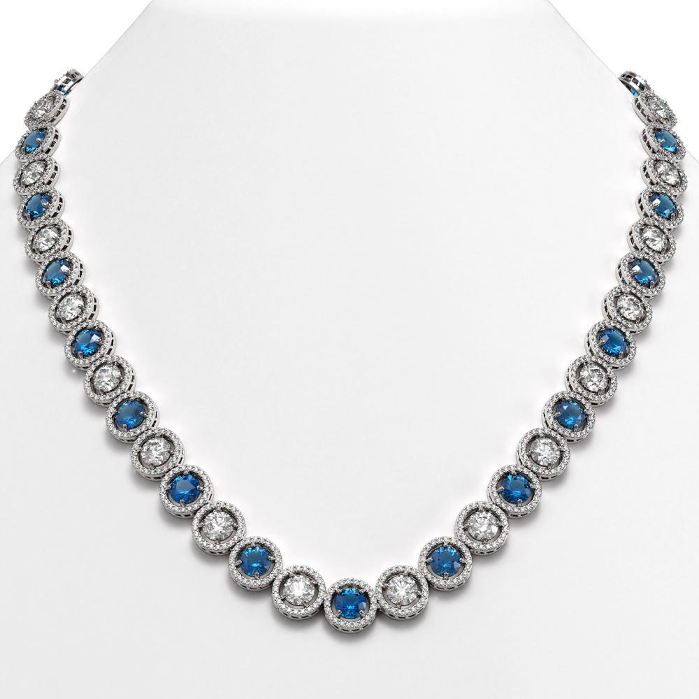 35.60 ctw Blue & Diamond Necklace 18K White Gold - REF-3302W7H - SKU:42677