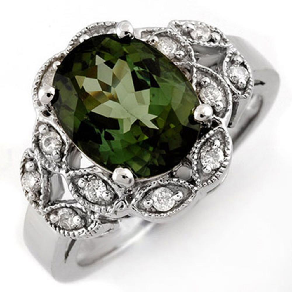 3.75 ctw Green Tourmaline & Diamond Ring 10K White Gold - REF-66W9H - SKU:10138