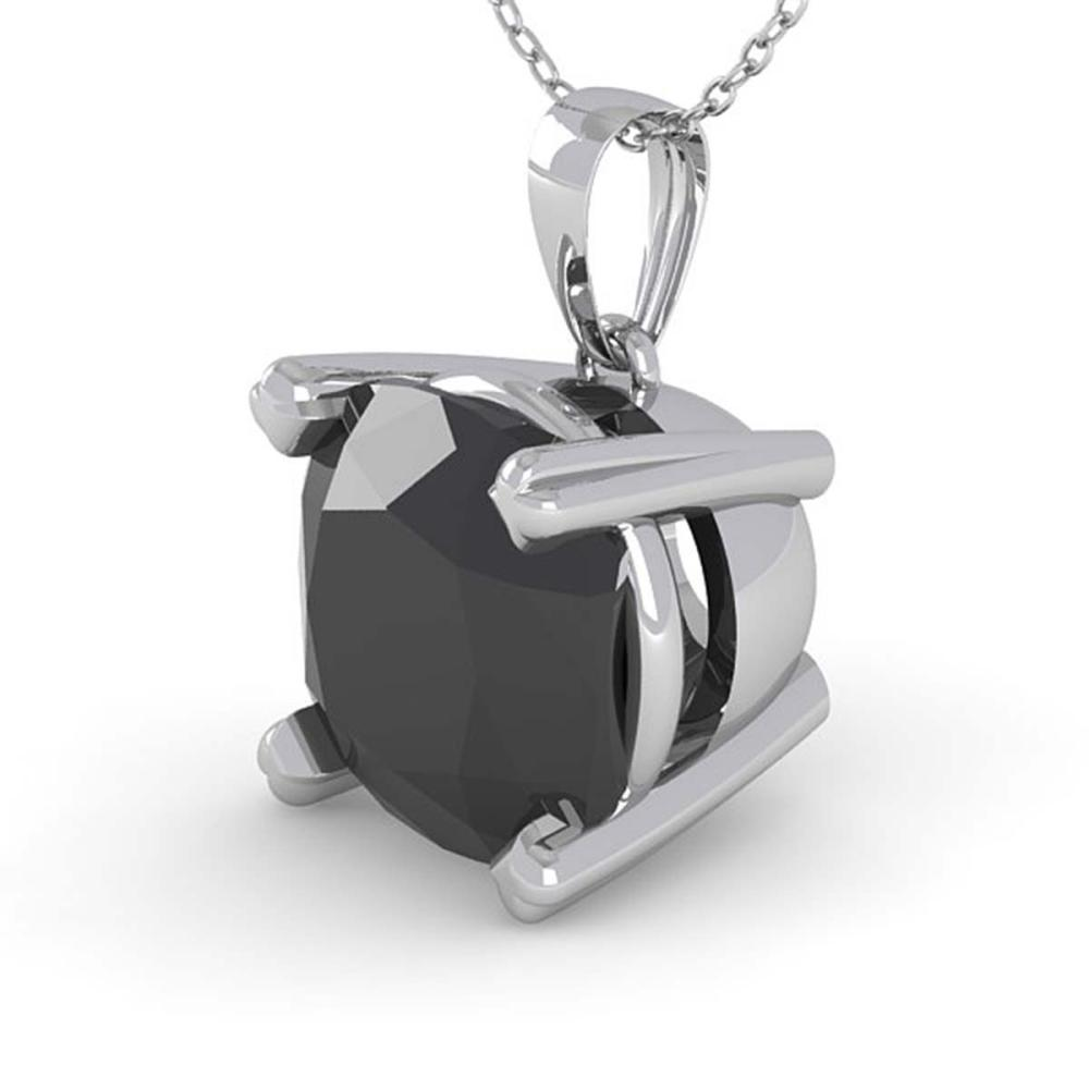 3 ctw Cushion Black Diamond Necklace 14K White Gold - REF-65K7W - SKU:38440