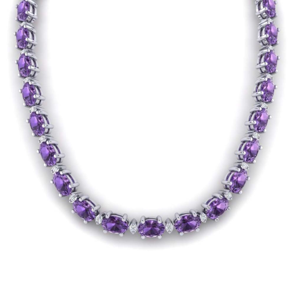 46.5 ctw Amethyst & VS/SI Diamond Eternity Necklace 10K White Gold - REF-226R2K - SKU:29413