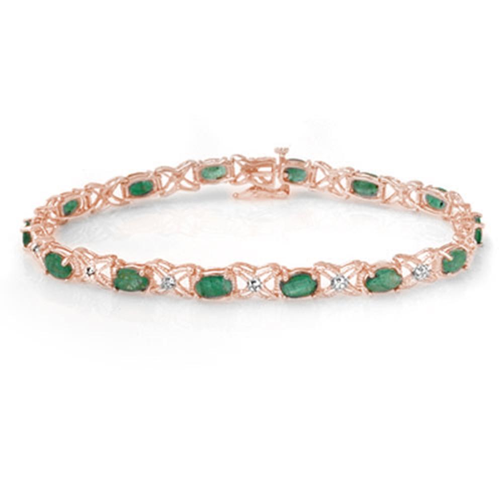 6.85 ctw Emerald & Diamond Bracelet 18K Rose Gold - REF-145K5W - SKU:13894