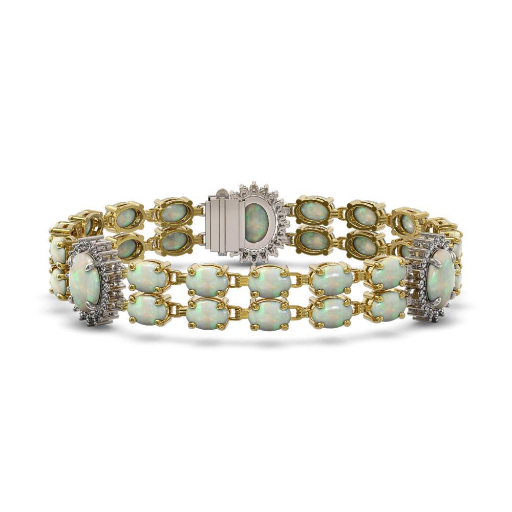 21.87 ctw Opal & Diamond Bracelet 14K Yellow Gold - REF-272W3H - SKU:44413