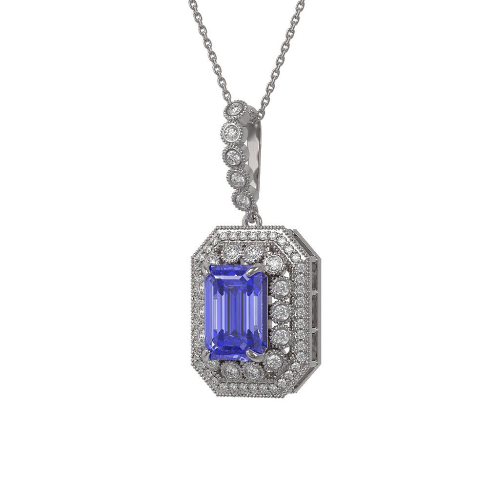 6.05 ctw Tanzanite & Diamond Necklace 14K White Gold - REF-213R5K - SKU:43445