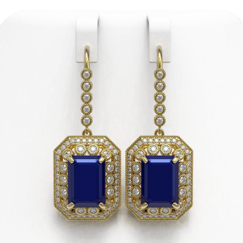 23.79 ctw Sapphire & Diamond Earrings 14K Yellow Gold - REF-446Y2X - SKU:43528