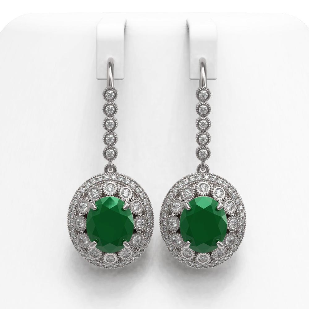 17.22 ctw Emerald & Diamond Earrings 14K White Gold - REF-391R3K - SKU:43763
