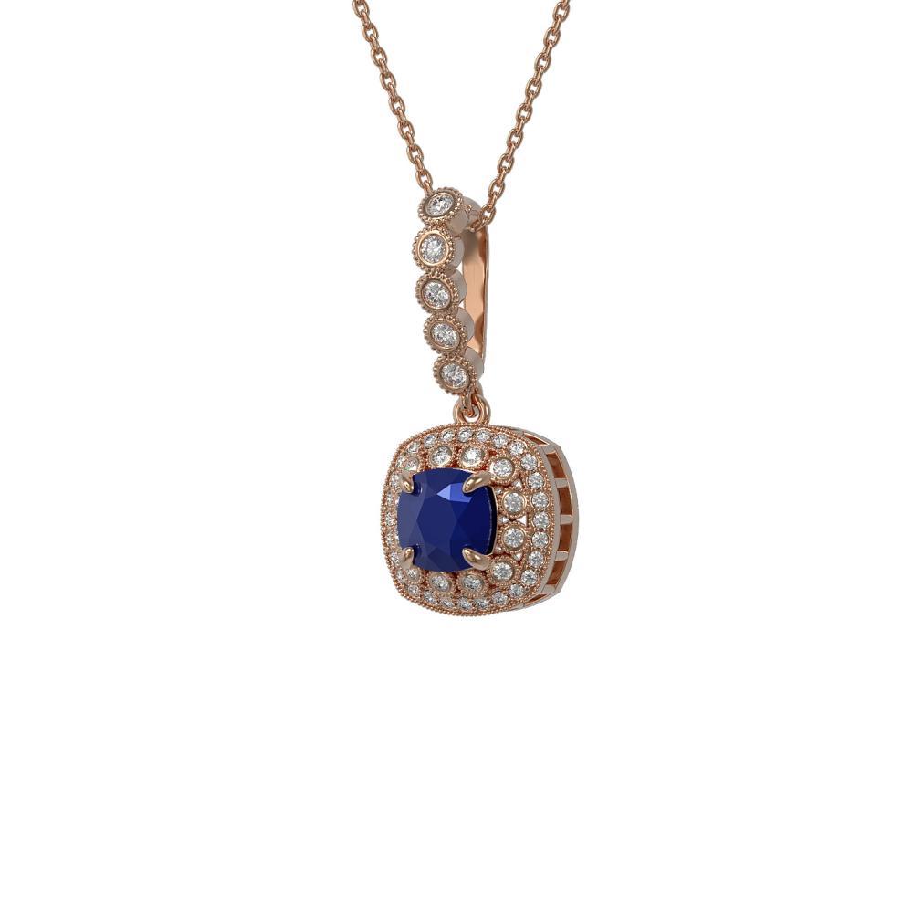 2.55 ctw Sapphire & Diamond Necklace 14K Rose Gold - REF-74A2V - SKU:44079