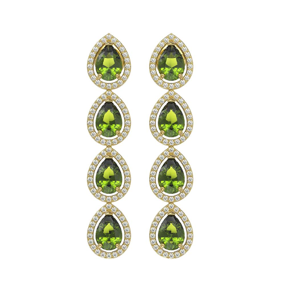 7.88 ctw Tourmaline & Diamond Halo Earrings 10K Yellow Gold - REF-178N5A - SKU:41161