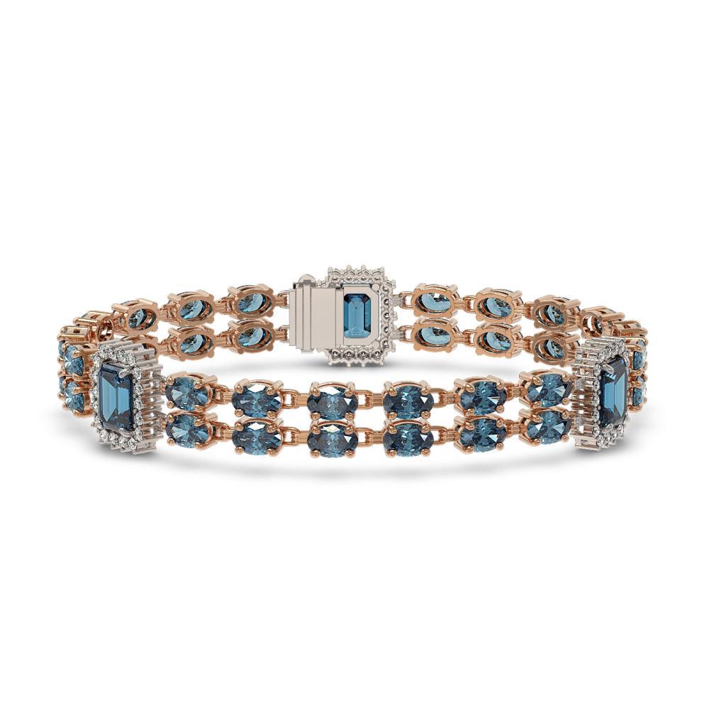 17.98 ctw London Topaz & Diamond Bracelet 14K Rose Gold - REF-248M2F - SKU:45060