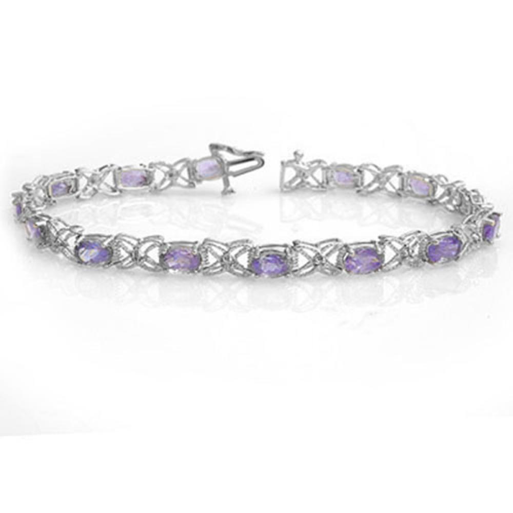 8.65 ctw Tanzanite & Diamond Bracelet 18K White Gold - REF-172A7V - SKU:13908