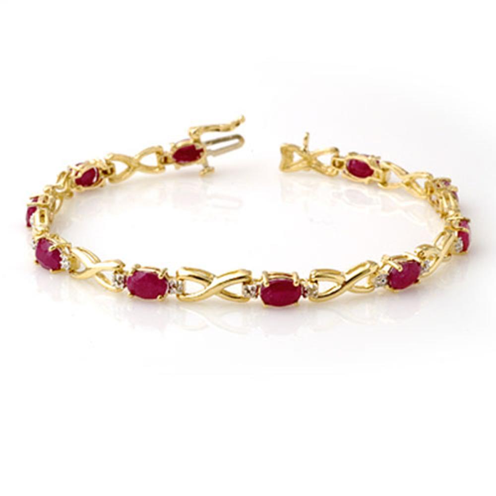 8.50 ctw Ruby & Diamond Bracelet 10K Yellow Gold - REF-78V9Y - SKU:14067