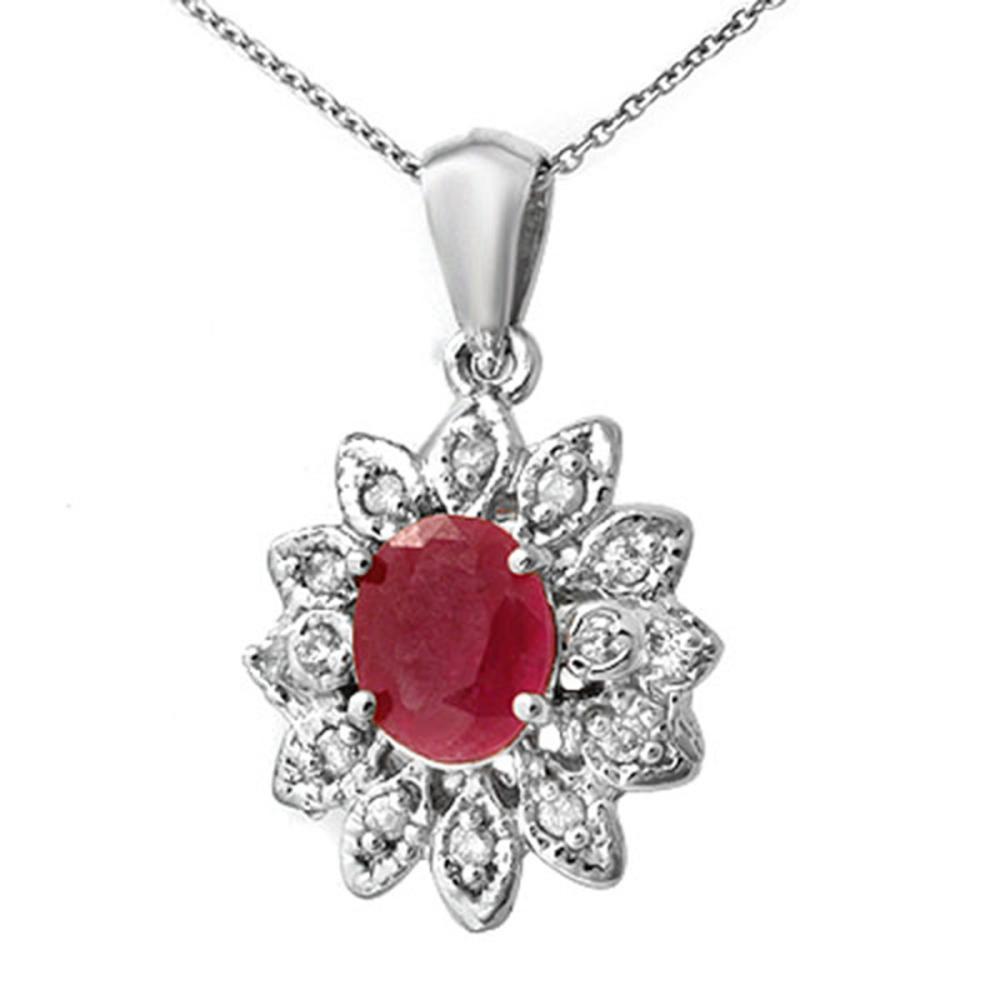 2.10 ctw Pink Sapphire & Diamond Pendant 14K White Gold - REF-58A2V - SKU:14265