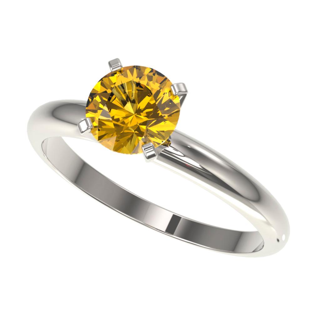 1.25 ctw Intense Yellow Diamond Solitaire Ring 10K White Gold - REF-225W2H - SKU:32911