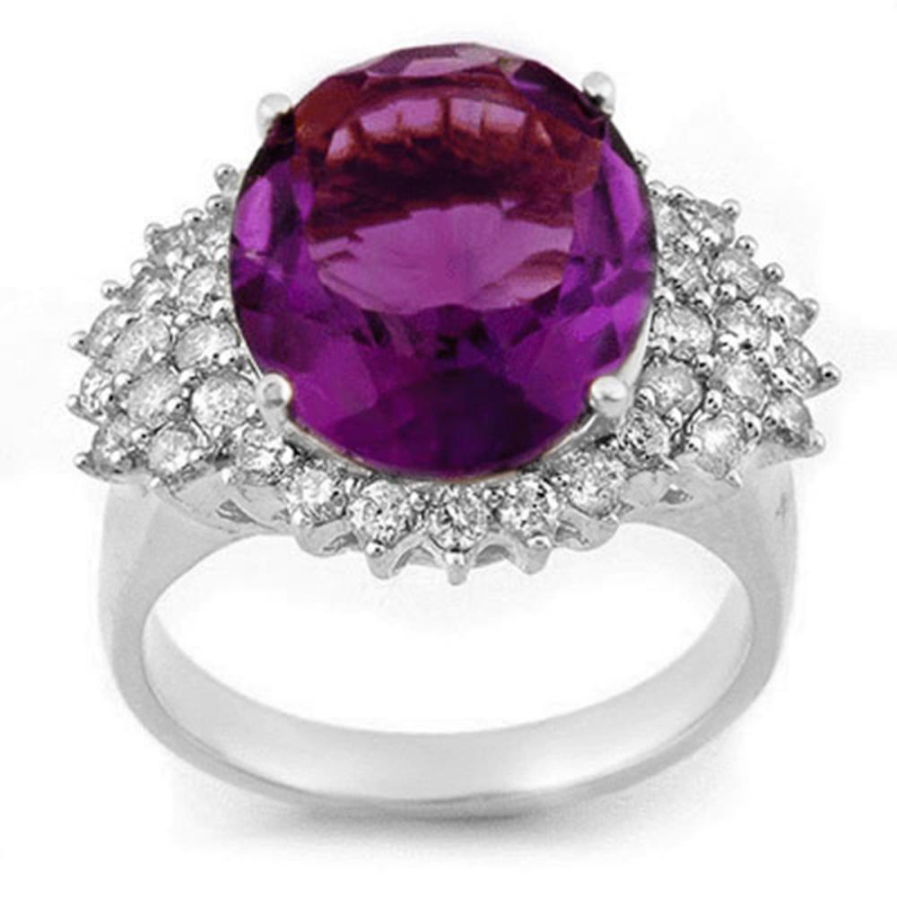 8.18 ctw Amethyst & Diamond Ring 18K White Gold - REF-129V3Y - SKU:11160