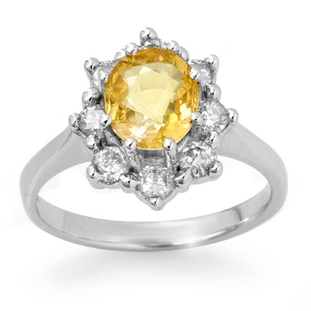 2.50 ctw Yellow Sapphire & Diamond Ring 14K White Gold - REF-55W8H - SKU:13947