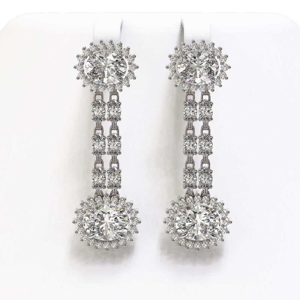 7.47 ctw Rare Oval Diamond Earrings 18K White Gold - REF-1286M7F - SKU:46200