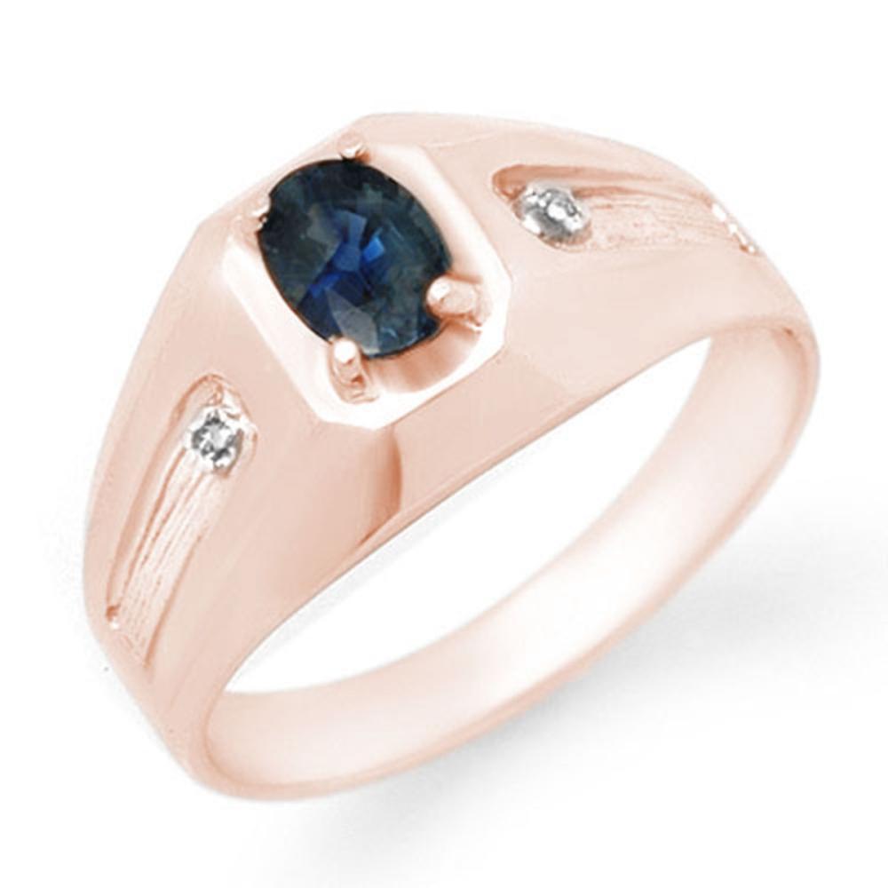0.68 ctw Blue Sapphire & Diamond Men's Ring 18K Rose Gold - REF-65M5F - SKU:13161