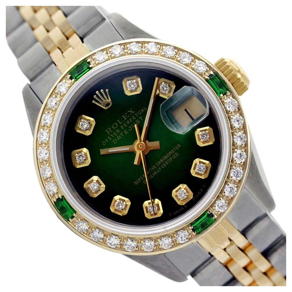 Rolex Men's Two Tone 14K Gold/SS, QuickSet, Diam Dial & Diam/Emerald Bezel - REF-557N3A