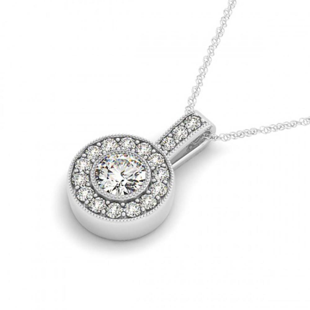 0.73 ctw SI Diamond Halo Necklace 14K White Gold - REF-71Y3X - SKU:30084