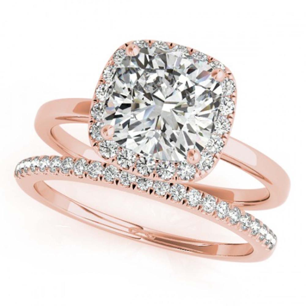 1.33 ctw VS/SI Cushion Diamond 2pc Set Halo 14K Rose Gold - REF-323K4W - SKU:31413