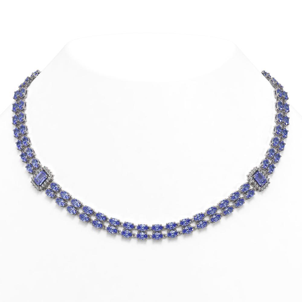 35.32 ctw Tanzanite & Diamond Necklace 14K White Gold - REF-489X6R - SKU:44975