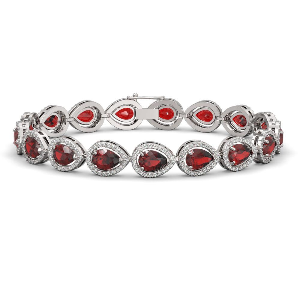 17.44 ctw Garnet & Diamond Halo Bracelet 10K White Gold - REF-272M2F - SKU:41135