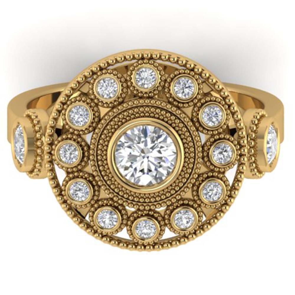 0.85 ctw VS/SI Diamond Art Deco 3 Stone Ring 14K Yellow Gold - REF-107N3A - SKU:30473