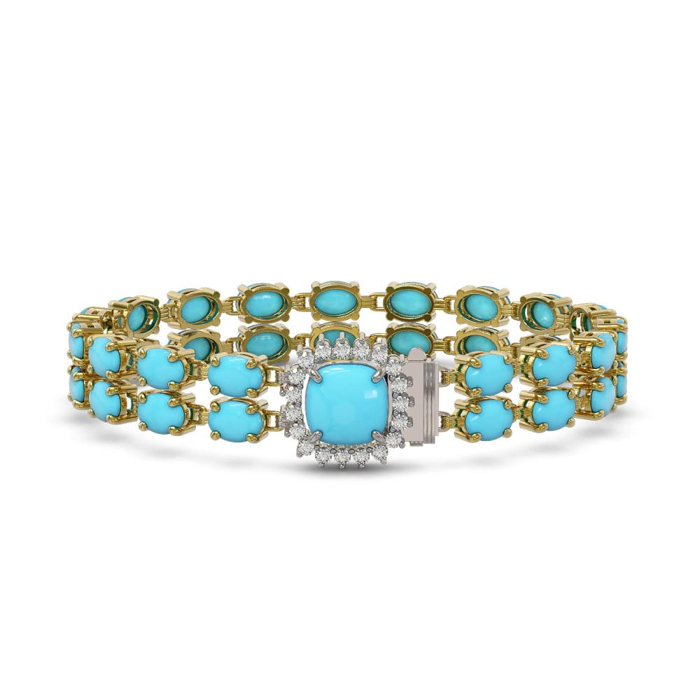 13.37 ctw Turquoise & Diamond Bracelet 14K Yellow Gold - REF-150W7H - SKU:45646