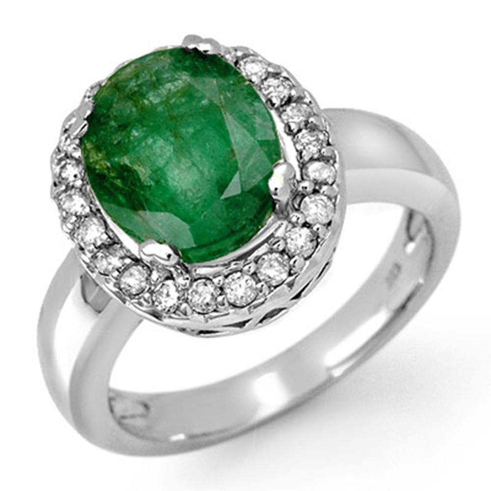 4.40 ctw Emerald & Diamond Ring 10K White Gold - REF-54W5H - SKU:11902