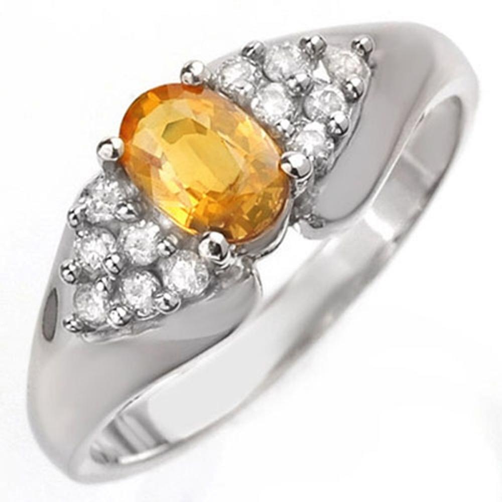 0.90 ctw Yellow Sapphire & Diamond Ring 18K White Gold - REF-51X5R - SKU:10026