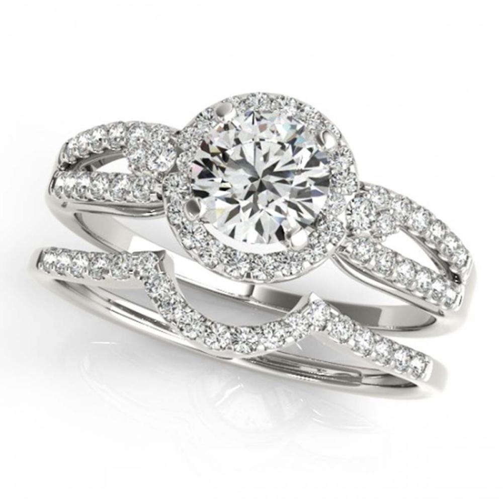 1.11 ctw VS/SI Diamond 2pc Wedding Set Halo 14K White Gold - REF-147W2H - SKU:31178
