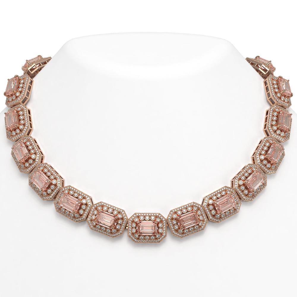 117.15 ctw Morganite & Diamond Necklace 14K Rose Gold - REF-4065N3A - SKU:43482