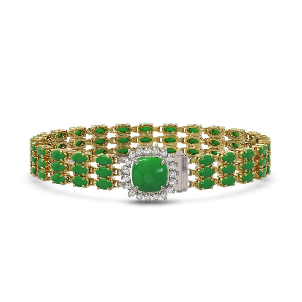 20.93 ctw Jade & Diamond Bracelet 14K Yellow Gold - REF-244X2R - SKU:45934