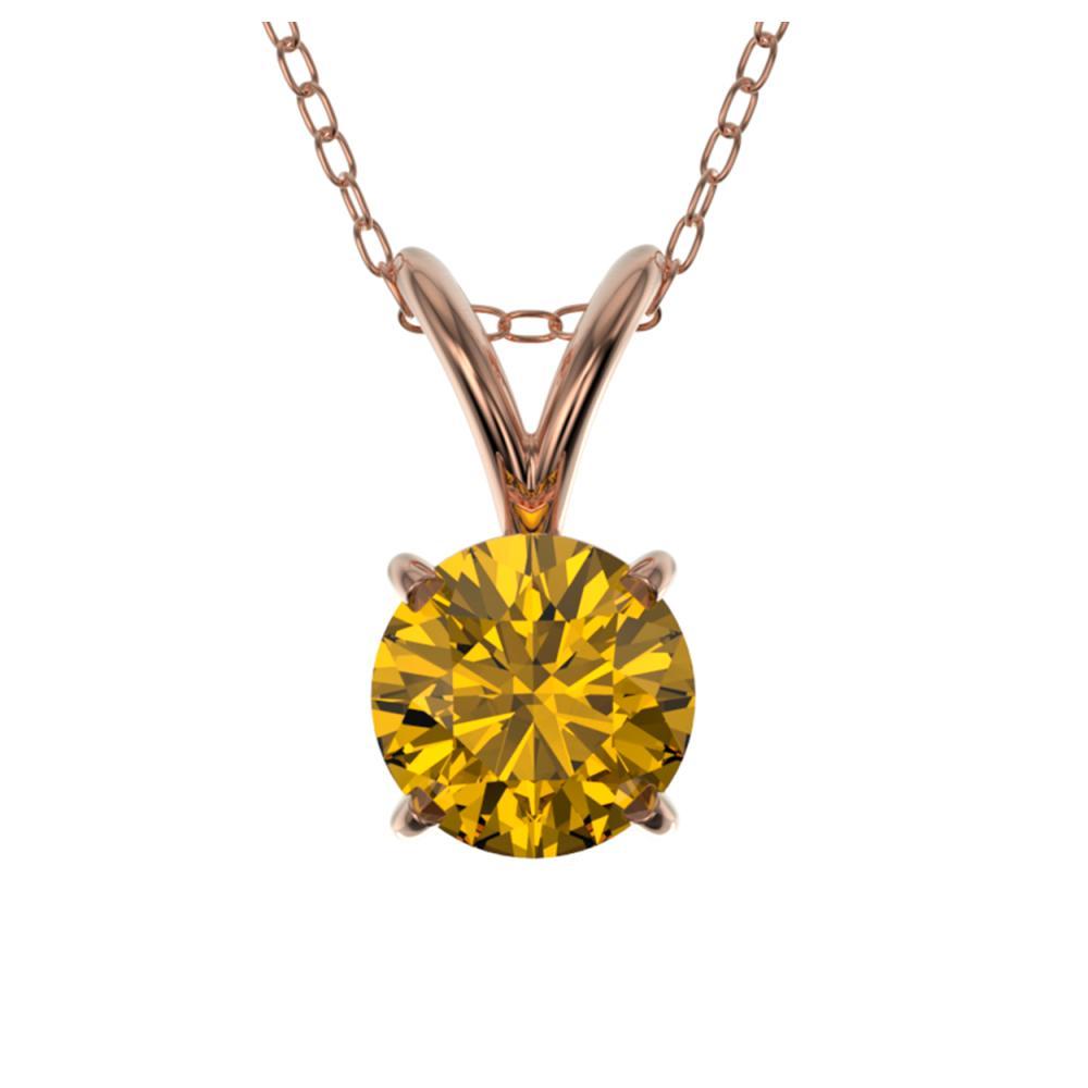 0.56 ctw Intense Yellow Diamond Necklace 10K Rose Gold - REF-70N5A - SKU:36735