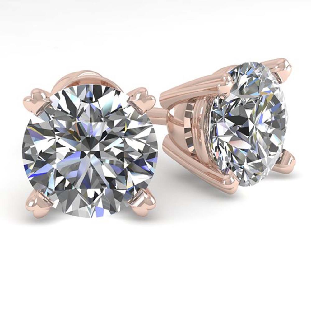 2.0 ctw VS/SI Diamond Stud Earrings 14K Rose Gold - REF-528F2N - SKU:38370