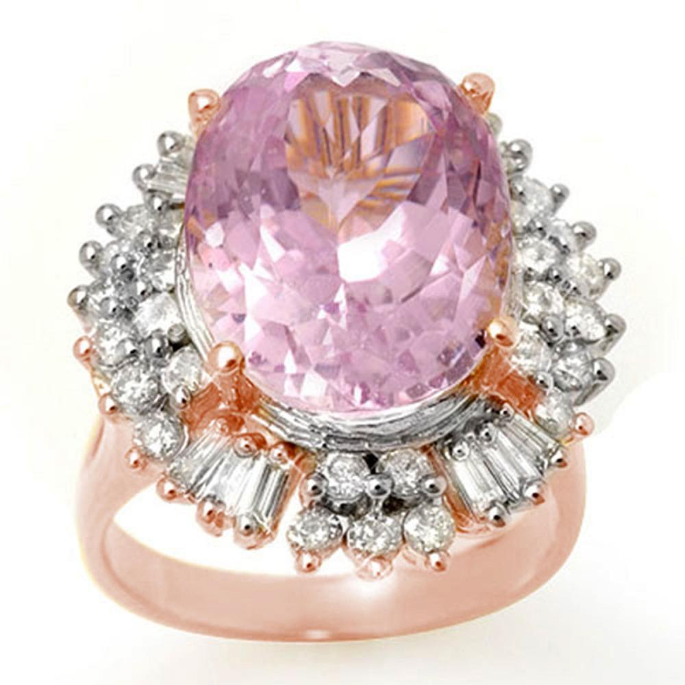 15.75 ctw Kunzite & Diamond Ring 14K Rose Gold - REF-246N4A - SKU:10599
