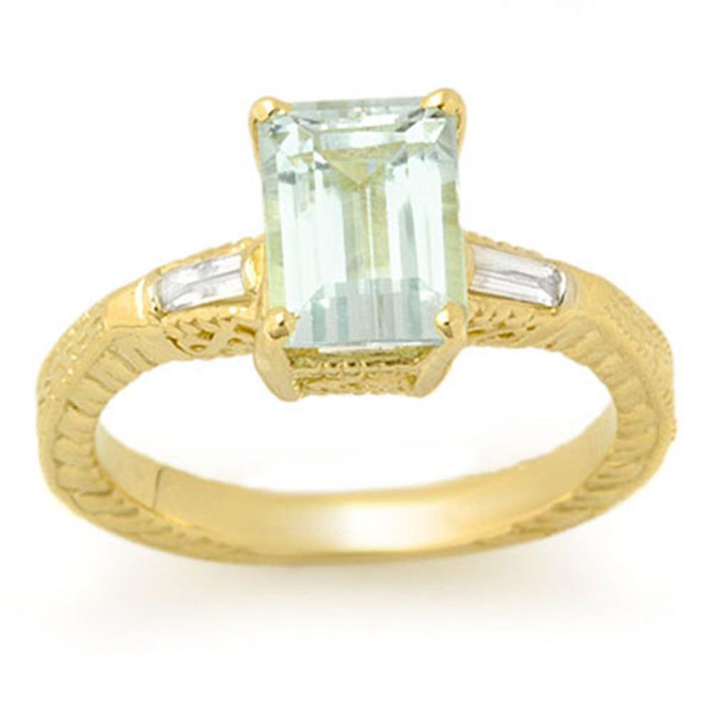 2.20 ctw Aquamarine & Diamond Ring 10K Yellow Gold - REF-47X5R - SKU:11684