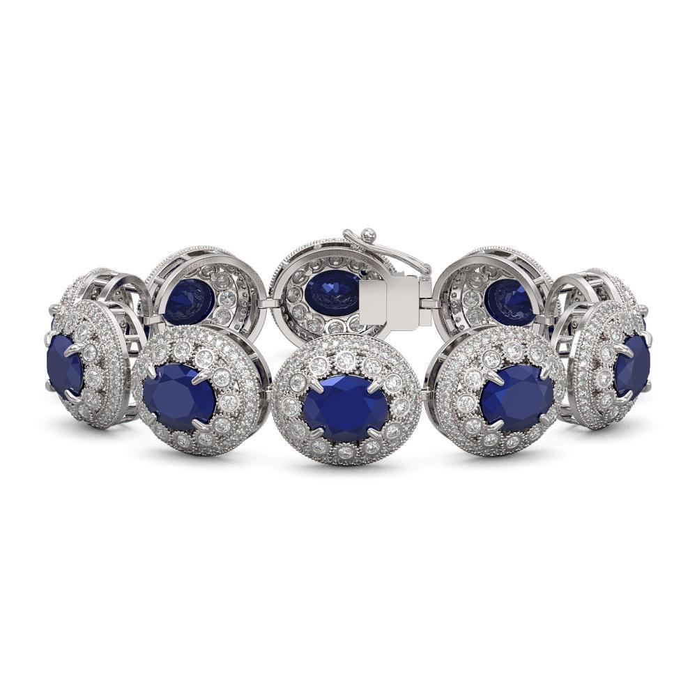49.17 ctw Sapphire & Diamond Bracelet 14K White Gold - REF-1334M4F - SKU:43715