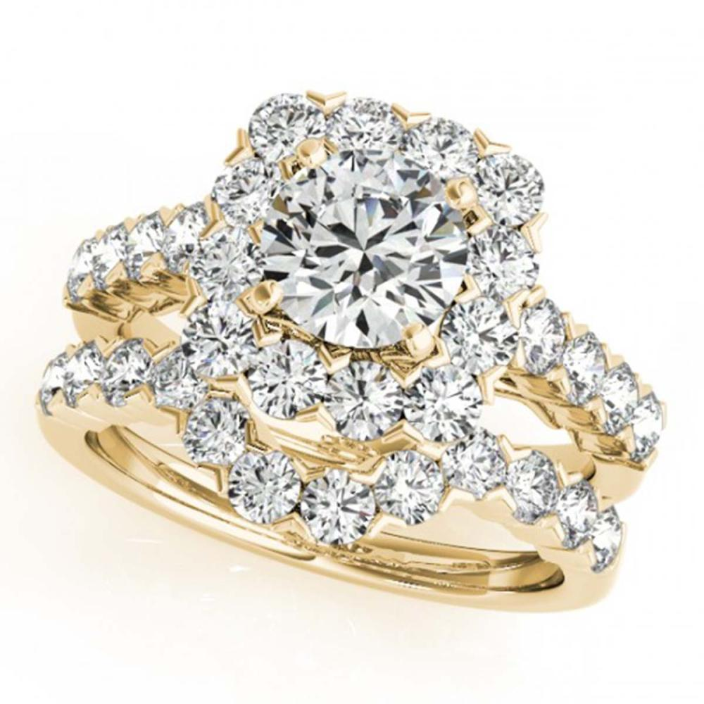 3.51 ctw VS/SI Diamond 2pc Wedding Set Halo 14K Yellow Gold - REF-364W3H - SKU:30674