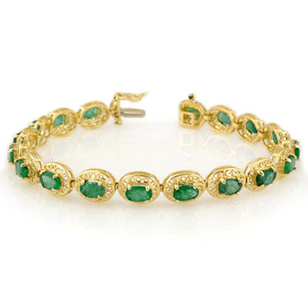 10.0 ctw Emerald Bracelet 10K Yellow Gold - REF-109X3R - SKU:11537